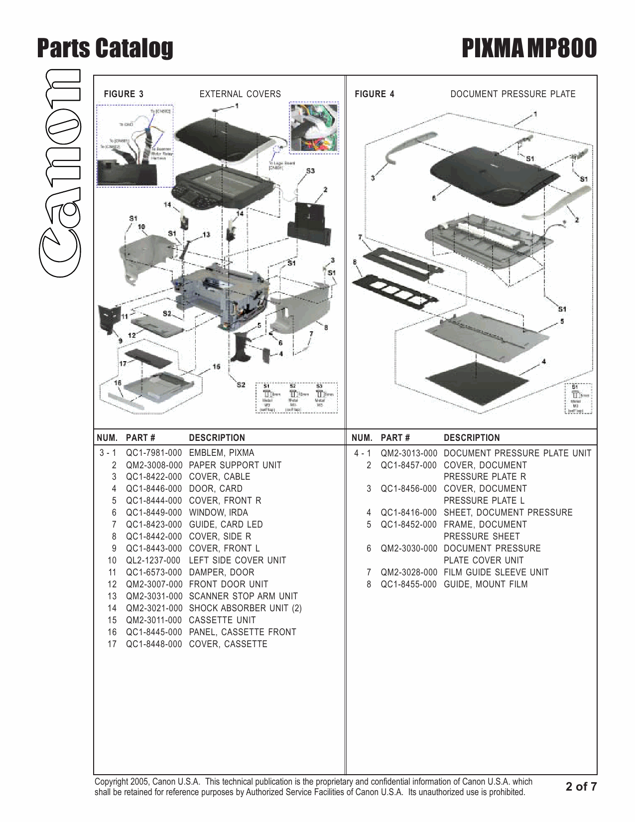 Canon PIXMA MP800 Parts Catalog Manual-3